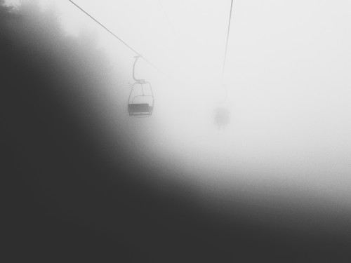 Misty day at the cable car to the Radhošť in Czech Republic.