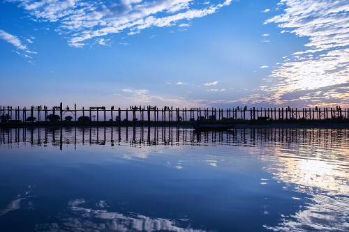 Ubein bridge, burma, wooden bridge
